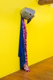 Mikala Dwyer Warning, 2021; plastic, acrylic paint, fabric, sequins; 215 x 42 x 47 cm; enquire