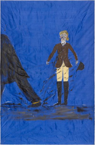 Jenny Watson Oops, 2002; acrylic on taffeta; 140 x 92 cm; Enquire