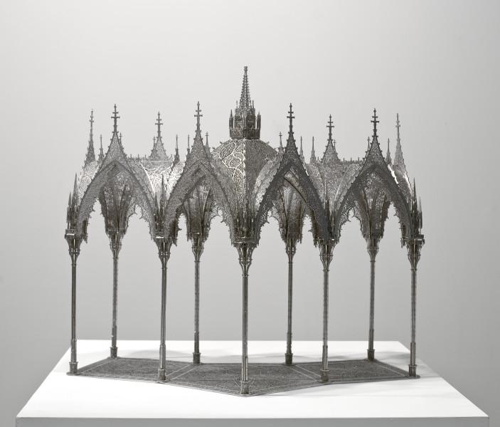 Wim Delvoye Pergola (scale model 1:10), 2011; Lasercut stainless steel, nickeled; 72 x 82 x 38 cm; enquire