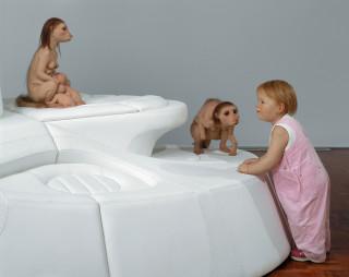 Patricia Piccinini Leather Landscape (detail), 2003; silicone, polyurethane, leather, mdf, human hair; 290 x 175 x 165 cm; enquire