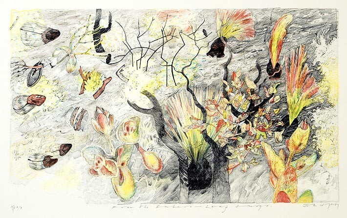 John Wolseley From the embers - Leaf Surge, 2004; Lithograph printed in colour from five stones/plates on white Velin Arches paper 250gsm; 32 x 60 cm (image), 56 x 76 cm (sheet); Edition of 25 + AP 3; enquire