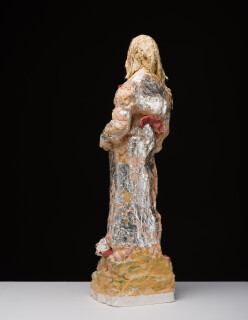 Linda Marrinon Figure with tumbleweed, 2019; silver leaf and painted plaster; 60 x 20 x 15 cm; Enquire