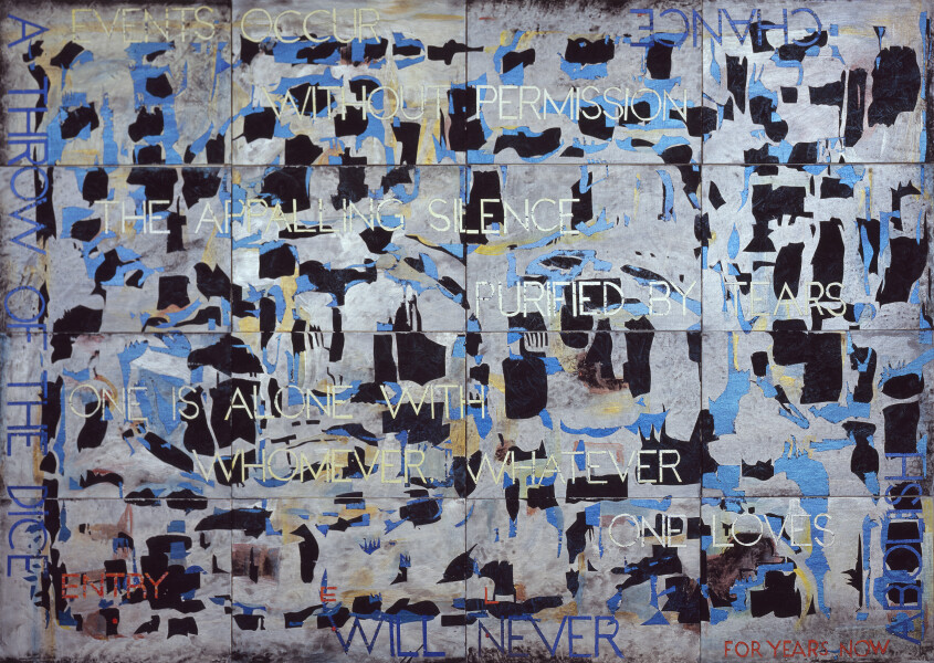 Imants Tillers Nature Speaks: EL, 2013; from the series Sung into Being; acrylic, gouache on 16 canvas boards, no. 92751 - 92766; 100 x 141 cm; Enquire
