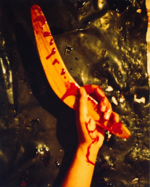Destiny Deacon My boomerang did come back, 2003; light jet print from Polaroid original; 100 x 80 cm; Edition of 15; enquire