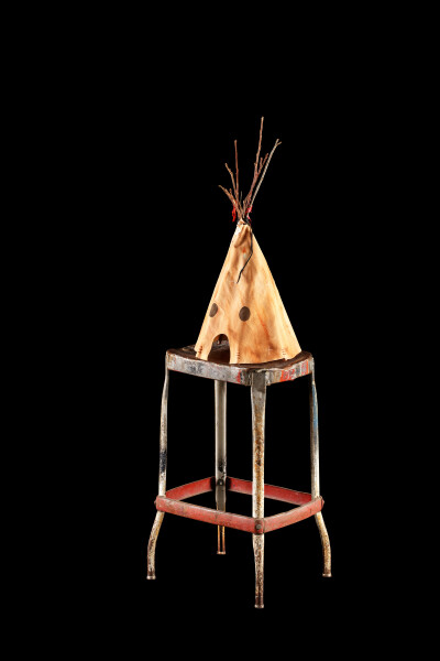 Nell dark night, stars, fire, spirit dance, bison ribs, 2015-16; The Wake No. 40; branches, canvas, rubber, leather, wire, cotton, feather, acrylic paint, bondcrete, metal stool; 123.5 x 33.5 x 39 cm; object : 62.5 x 28 x 28 cm stool : 61.1 x 33.5 x 39 cm; enquire