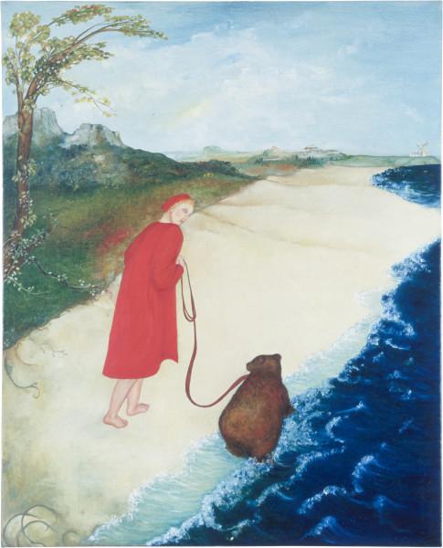 Vivienne Shark LeWitt Shall I Bark for you Master? Or Shall I Bite? Ha, ha, ha, ha., 1987; oil on linen; 81 x 66 cm; enquire