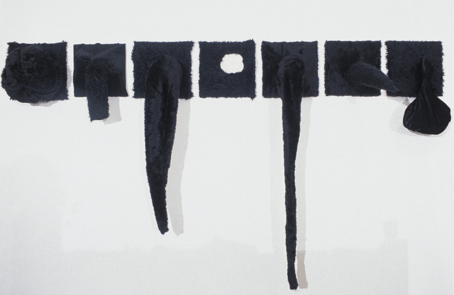 Kathy Temin Black Problem, 1996; wood, fake fur, stuffing, synthetic velvet; 35 x 245 cm; 7 pieces each 35 x 35 cm; enquire
