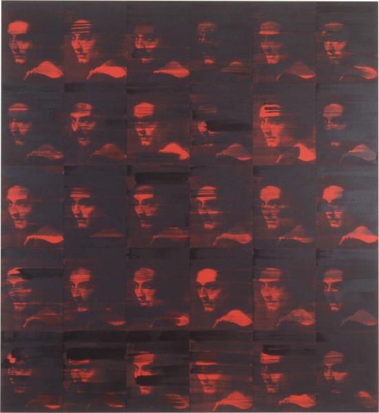 Lindy Lee Erase, 1993; photocopy and acrylic on Stonehenge paper; 182.5 x 168 cm; 30 panels; enquire