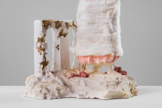 Linda Marrinon Woman with white dog (detail), 2020; plaster and cotton wool; 65 x 33 x 27 cm; enquire