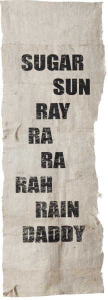 Newell Harry Untitled (More Mumbo Jumbo: Crackpots 'n' Poems for Ishmael Reed), 2010-12; Two parts: eight unique screen prints on hand-beaten Tongan Ngatu (bark cloth), ink.; Edition of 2; enquire