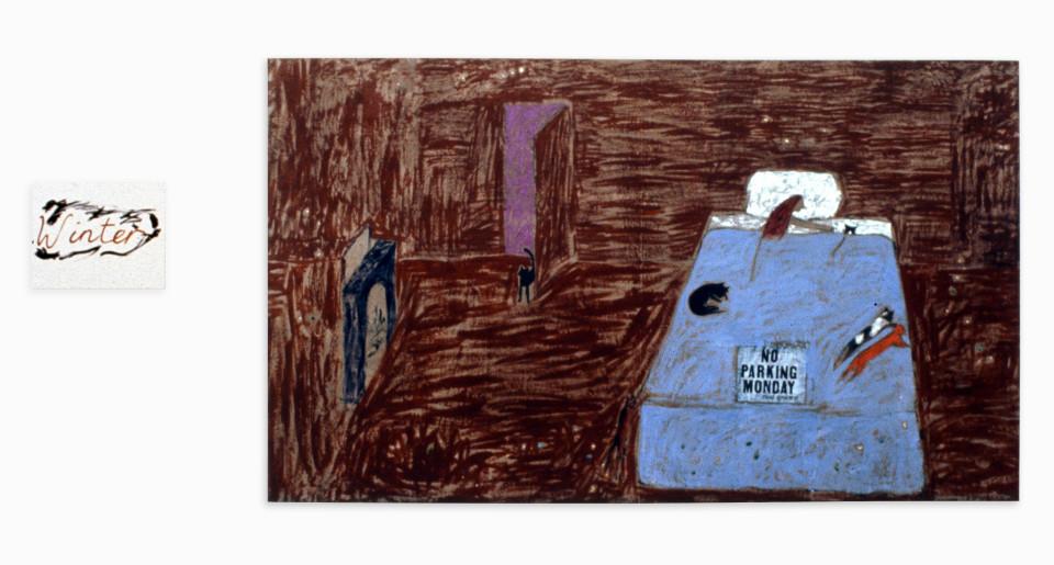 Jenny Watson Winter, 1992; Oil, pigments, sequins and paper on primed Belgian linen; 160 x 280 cm &  50 x 40 cm; enquire