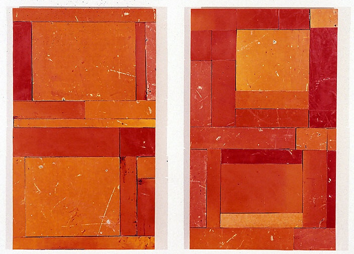 Rosalie Gascoigne not yet titled (Red Squares), 1999; retro reflective roadsign on wood; 2 panels, 64 x 37.5 cm each; enquire