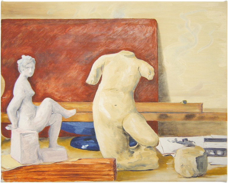 Linda Marrinon Still life with two nudes and palette, 2001; oil on canvas; 31 x 38.5 cm; enquire