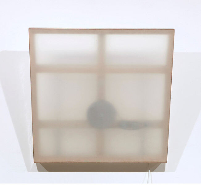 Marley Dawson Mechanical painting i, 2009; timber, mechanics, polyester resin on polyester fabric, electronics, mild steel; 105 x 105 x 6.5 cm; enquire
