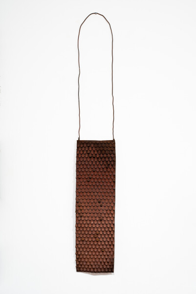 Lorraine Connelly-Northey Narrbong, 2019; CONNL - 0007; rusted iron, tin backing, wire; 170 x 26 x 7 cm; enquire