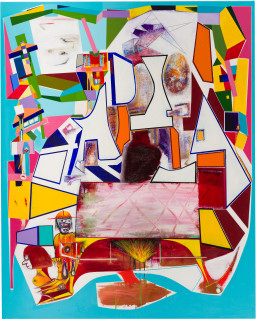 Gareth Sansom The duel, 2018; oil and enamel on linen; 152 x 367 cm; Enquire