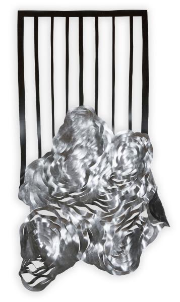 Caroline Rothwell Composition 3 - Damaged work - no longer exists, 2014; aluminum leaf, UV-stable structural PVC; 200 x 92 x 10 cm; enquire