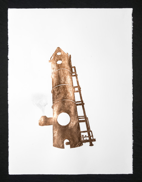 Caroline Rothwell Mission 2013 Air Scrubber, 2014; Copper leaf, vehicle exhaust emission, acrylic binder on Arches hot pressed archival paper; 76 x 57cm (paper), 80.5 x 61.5cm (framed); enquire
