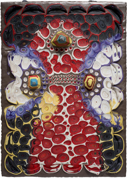 Rohan Wealleans Bosom Embrace, 2011; paint and pins on board; 70 x 50 x 8 cm; enquire