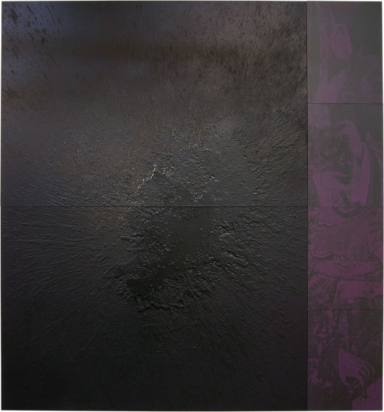 Lindy Lee Dissolving Night, 2006; acrylic and wax on boards, archival inks on pure cotton photorag   ; 6 panels, 162cm x 150cm; enquire