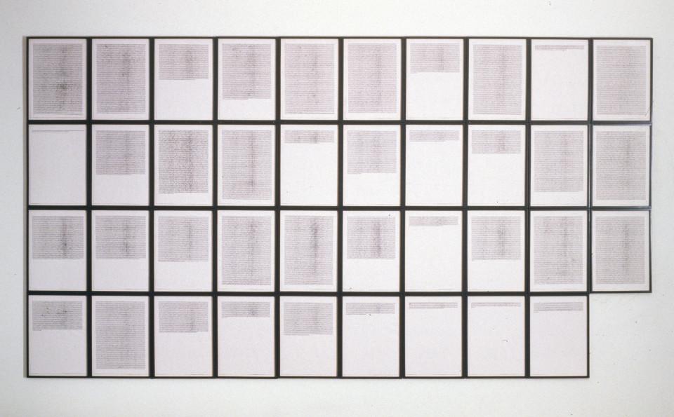 Mike Parr The Alphabet, 1988-89; 64 + 39 A3 size Canon Laser Prints; enquire