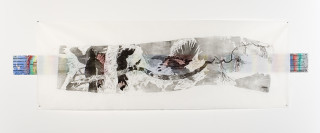 John Wolseley The Wood the World and the Parrot - Time's Arrow, Time's Cycle, 2006; woodcut over watercolour, graphite in and gouache on paper; 101 x 284.5 cm; (frame size); Edition of 5; enquire