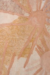 Nyapanyapa Yunupingu Ganyu Djulpan (detail), 2019; 7196-19; natural earth pigments on bark; 255 x 108 cm; enquire