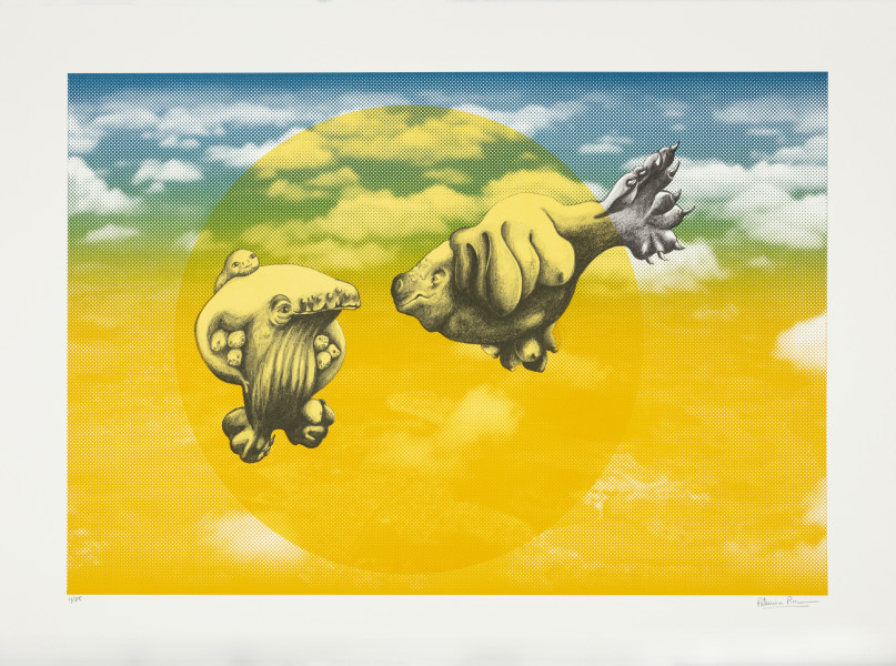Patricia Piccinini The Skywhale Suite (Township), 2019; Lithograph on BFK Rives 250gsm; 50 x 60 cm; edition of 25 + 2 AP; enquire