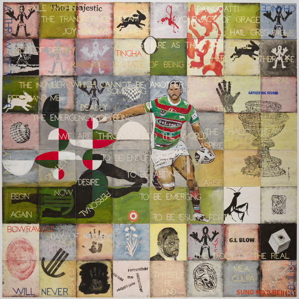 Imants Tillers All hail Greg Inglis, 2019; Archibald Prize 2019; synthetic polymer paint and gouache on 64 canvasboards; 242 x 242 cm; enquire