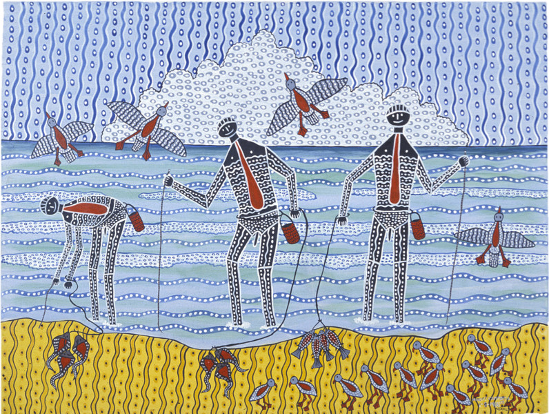Robert Campbell Jnr Worm Catchers, 1987; acrylic on canvas; 91 x 120 cm; enquire