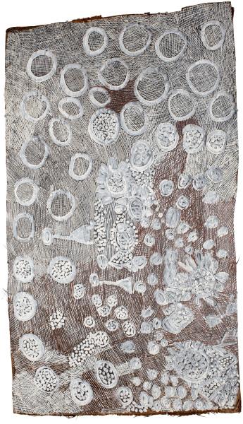 Nyapanyapa Yunupingu Untitled, 2016; 4881G; Bark painting; 126 x 71 cm; enquire