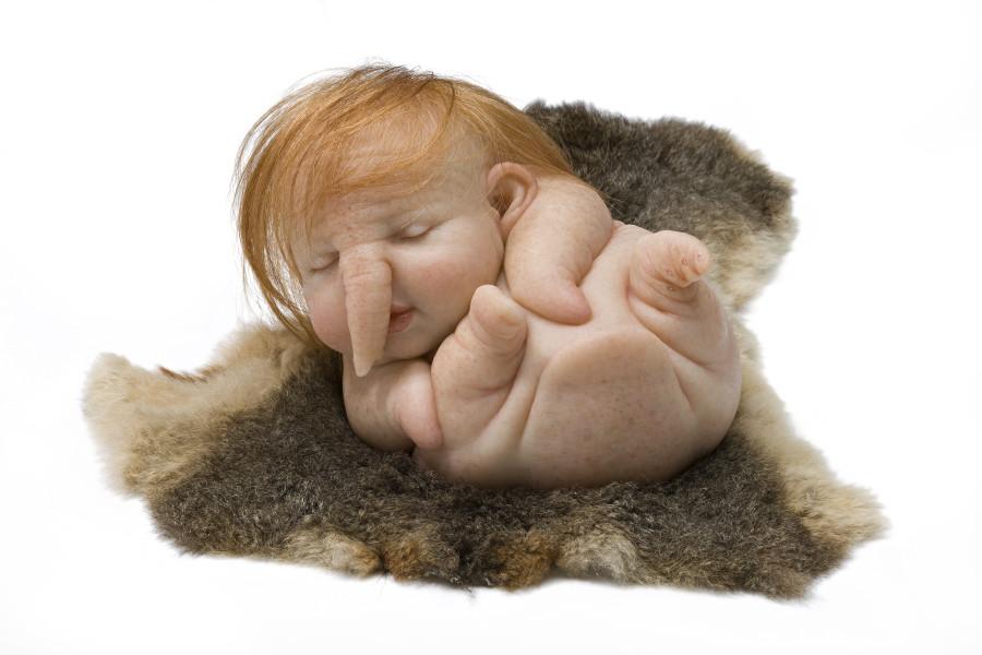 Patricia Piccinini Newborn, 2010; silicone, forton, steel, human hair, possum pelt; 19 x 24 x 17 cm; Edition of 6 + AP 2; enquire