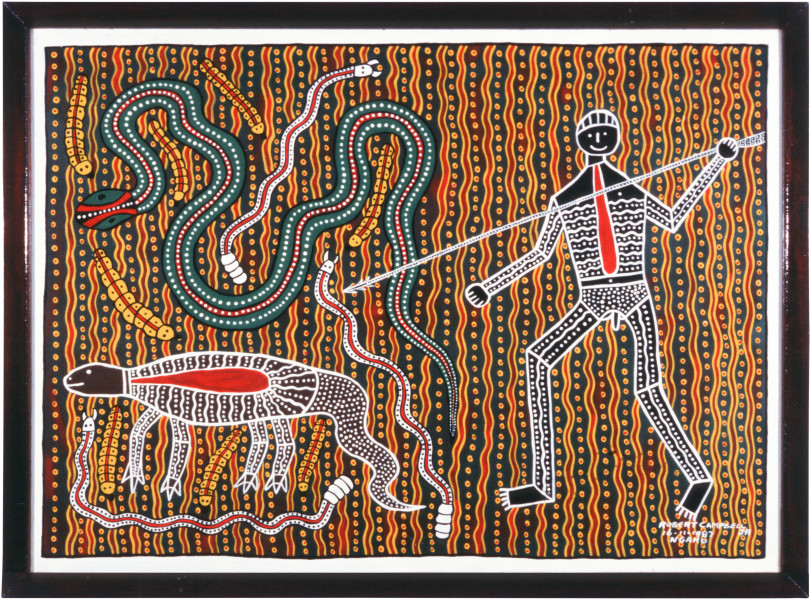 "Robert Campbell Jnr ""Hunter"", Snake, Witchety Grub, 1987; acrylic on board; 86.5 x 117 cm;"