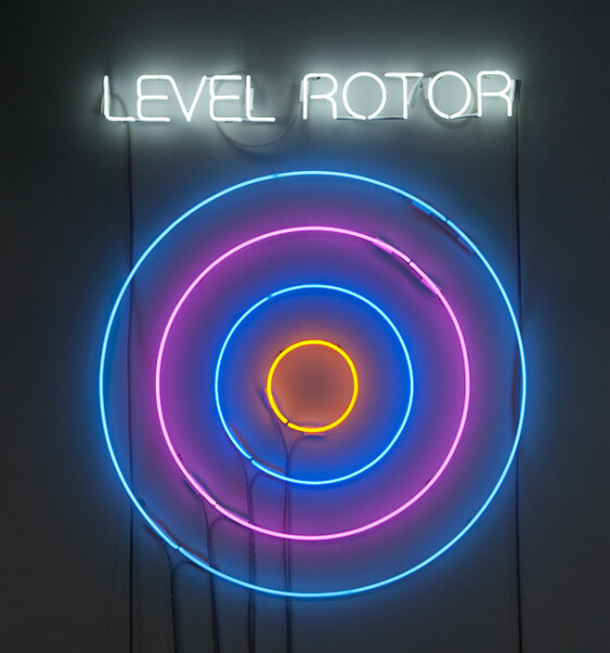 Newell Harry Circle/s in the Round: LEVEL ROTOR, 2010; neon; 135 x 110 x 5 cm; Edition of 5 + AP 2; enquire