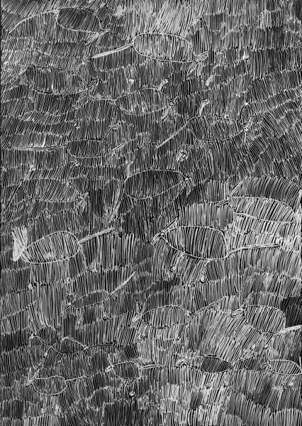 Nyapanyapa Yunupingu 36. Birrka'mirri 7, 2011; 4303B; paint pen on clear acetate plastic; 83.5 x 59.5 cm; enquire