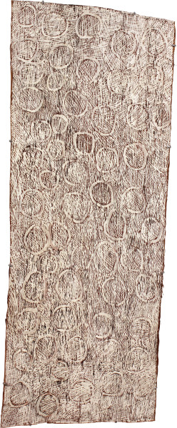 Nyapanyapa Yunupingu White Circles, 2011; 4063Q; natural earth pigments on bark; 134 x 53 cm; enquire