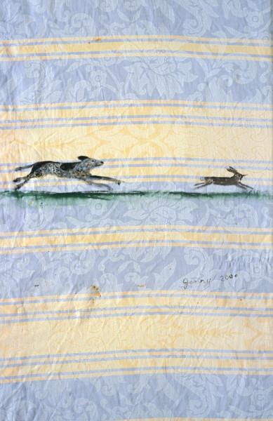 Jenny Watson Sam chasing hare, 2000; oil on cotton; 154 x 85.5 cm, 35 x 25 cm; enquire