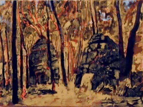 Mandy Martin Volcanic Plugs 2, after Salvator Rosa, 2002; pigment, ochre, hematite, mica, wax medium & acrylic binder on paper; 30 x 40 cm; enquire