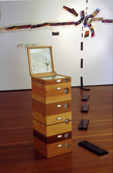 John Wolseley Herbarium for the end of the Millennium Myrtyle Beech Nothotagus, 1996; cabinet in different Australian woods (made by Linda Fredheim, Furniture Design, Hobart) enclosing drawings and watercolours on paper; enquire