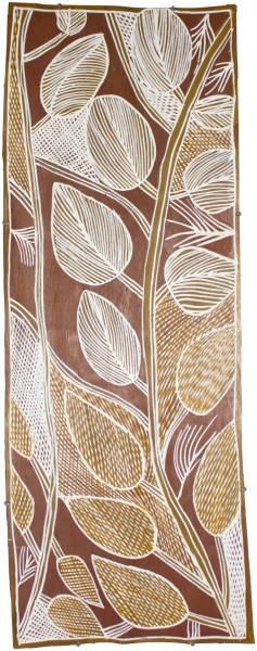 Mulkun Wirrpanda Bawa_, 2015; 4645J; Bark painting; 107 x 39 cm; Enquire
