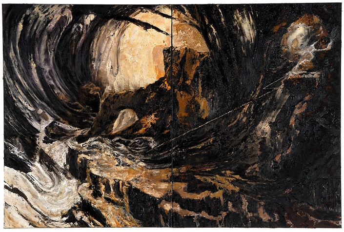 Mandy Martin Wanderers in the desert of the real; The Deluge, after John Martin, 2008; Ochre, pigment, and oil on linen; diptych, overall 180 x 270 cm; enquire