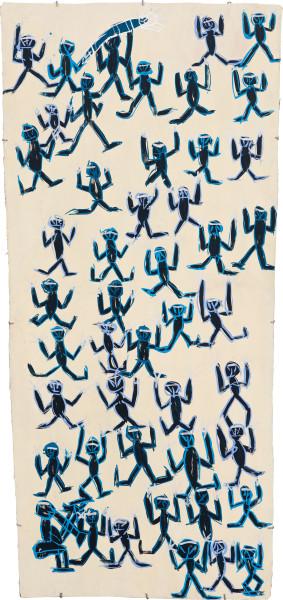 Dhambit Munuŋgurr Banumbirr, 2020; 2941-20; earth pigments and acrylic on bark; 188 x 86 cm; enquire