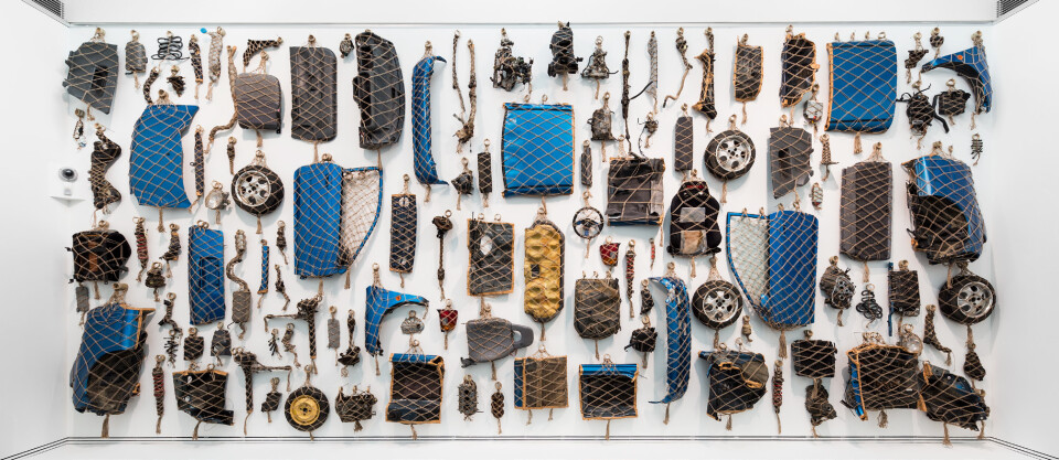 Claire Healy and Sean Cordeiro We Hunt Mammoth, 2015; 121 bagged components (entire Honda) in jute and bamboo using traditional Japanese method for packaging; dimensions variable; enquire