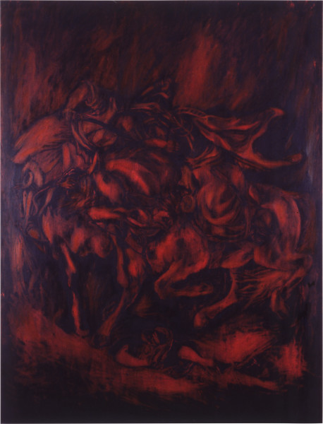 Lindy Lee The Battle of the Giaour and the Sultan, 1987; oils and wax on canvas; 207 x 156 cm; enquire