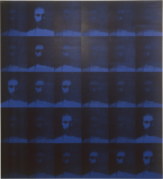 Lindy Lee Motion of a Non-Event, 1992; photocopy and acrylic on Stonehenge paper; 30 panels, blue, 172.5 x 162.5 cm; enquire