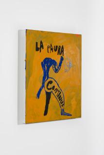 installation view; Tom Polo la paura continua, 2021; acrylic and Flashe on canvas; 60 x 50 cm; enquire