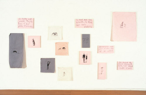 Jenny Watson About Mortality, 1992-93; Oil on cotton and velvet; 14 panels of varying dimensions; enquire