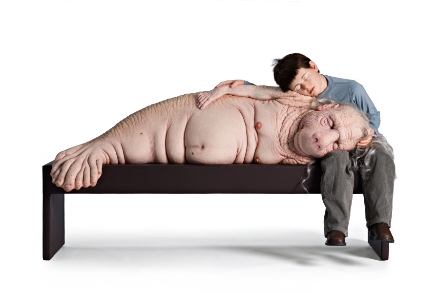 Patricia Piccinini The Long Awaited, 2008; silicon, fibreglass, human hair, plywood, leather, clothing  ; 152 x 80 x 92 cm; Edition of 3 + AP 1; enquire
