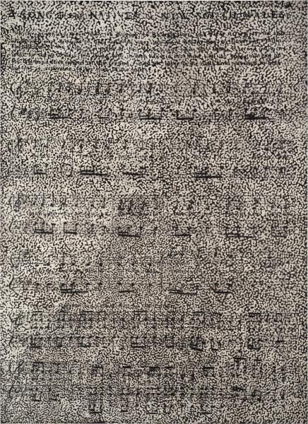 Daniel Boyd Untitled (DBSC), 2016; oil, charcoal and polymer medium on canvas; 206 x 150 cm; enquire