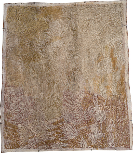 Nyapanyapa Yunupingu Untitled, 2015; 4757M; natural earth pigments on bark; 84 x 72 cm; enquire